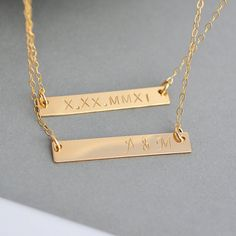 BAR NECKLACE, Personalized Necklace, Layered Bar Necklace, Double Layered Bar Necklace, 2 Layered Bar Necklace