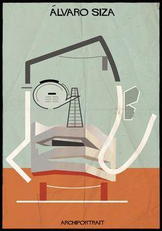 The Latest Illustration from Federico Babina: ARCHIPORTRAIT - Álvaro Siza. Image Courtesy of Federico Babina