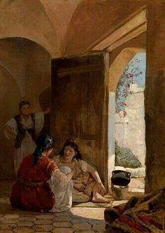 Algérie - Peintre Français Numa Marzocchi de Belluci(1846 - 1930),Huile sur toile 1880, Titre : La conversation.
