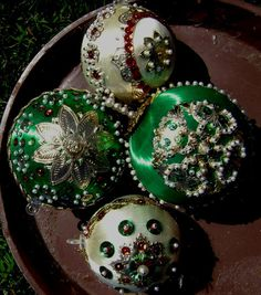 Handmade Ornaments Satin Sequin 60s Lot of 4 by junquegypsy, $14.85
