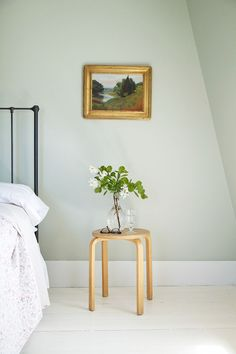 """Farrow & Ball - 'Cromarty' - a watery pale-blue/green. According to Farrow & Ball, """"Cromarty's name is taken from the Cromarty Firth estuary and conjures up visions of swirling mists. Farrow And Ball Bedroom, Farrow And Ball Paint, Farrow Ball, Summer Bedroom, Bedroom Green, Trendy Bedroom, Pale Green Bedrooms, Master Bedroom, Farrow And Ball Blue Gray"""