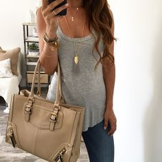 Spring Outfit - Grey tank & cute bag