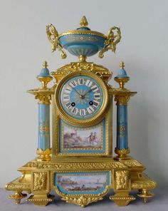 Antique French porcelain and ormolu mantel clock with Sevres style plaques. at Gavin Douglas Fine Antiques Ltd. in London, specialists in antique clocks and decorative gilt bronze Antique Desk, Antique Clocks, Vintage Clocks, Cool Clocks, Unusual Clocks, George Nelson, Mantel Clocks, Retro Clock, Grandfather Clock