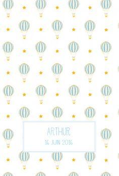 Faire-part naissance Montgolfière par Louise Pianetti pour Fairepartnaissance.fr #fairepartnaissance #birthannouncement #montgolfiere