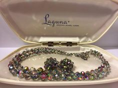 Excited to share the latest addition to my #etsy shop: Laguna Carnival Aurora Crystal Glass Necklace Earring Set | Vintage Jewelry Set | Aurora Borealis Glass Beads | Unique Gift | Fancy Gift #jewelry #rainbow #anniversary #vintagejewelry #lagunajewelryset #jewelryset #weddingjewelry #rockabilly #blingbling #sparkle #fancy #laguna