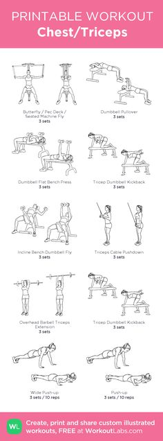 Chest/Triceps – my custom workout created at WorkoutLabs.com • Click through to download as printable PDF! #customworkout