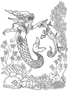 Mermaid Fairy And Sea Horse Coloring Pages Realistic