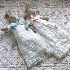 Baby christening bunnies  Baby bunnies wearing beautiful lace christening gowns - a lovely and unusual christening gift.