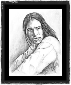 Graphite portrait of a Native American man done from a photograph. by Connie Baten