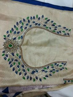 Mom's yellow wedding sari Kurti Embroidery Design, Embroidery Works, Embroidery Suits, Hand Embroidery Designs, Embroidery Blouses, Simple Embroidery, Hand Work Blouse Design, New Blouse Designs, Bridal Blouse Designs