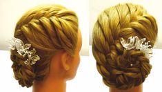 Свадебная прическа на средние волосы.Свадебная прическа с цветами.Wedding hairstyle