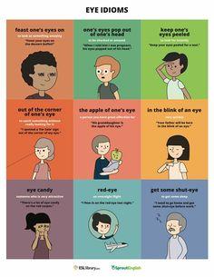 Eye Idioms for ESL/ESOL or introducing idioms to native language (English) speakers. English Fun, English Writing, English Language Arts, English Study, English Words, English Lessons, Teaching English, Learn English, English Grammar
