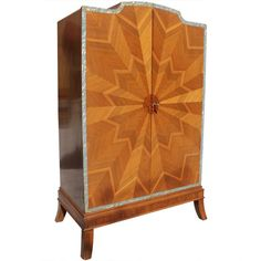 Spectacular French Art Deco Palisander Sunburst Armoirette M-O-P Border, 1940's.