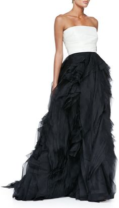 Monique Lhuillier Strapless Colorblock Raw-Edge Organza Gown on shopstyle.com