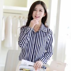 Women 2016 Spring Summer Fashion Vertical Striped Stars Printed Long Sleeve Casual