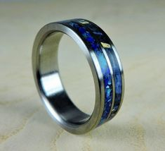 wedding ring blue wood stone wood ring titanium ring mens ring