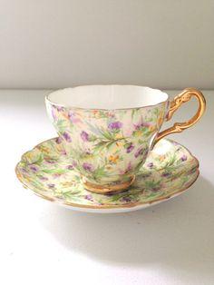 Vintage English Regency Tea Cup and Saucer Cottage Garden Tea Party