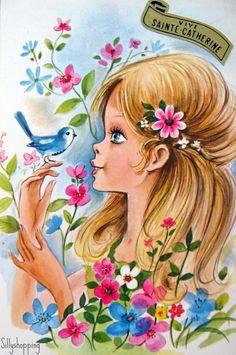 """Photo from album """"cards detki"""" on Yandex. Vintage Greeting Cards, Vintage Postcards, Vintage Images, Vintage Illustration, Image Deco, Vintage Comics, Vintage Artwork, Big Eyes, Vintage Children"""
