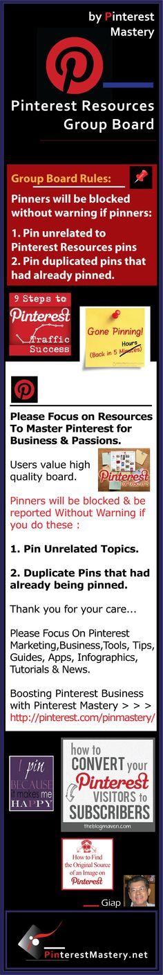 PINTEREST Resources Group Board Contributor Rules.... 1.Focus on Resources that are closely related to Pinterest only .... 2.Don't pin any other items that are not related to Pinterest Resources .... 3. Don't repin the same pins that have already being pinned..... 4. Please browse the board before pinning to avoid duplication...... 5. Break the rules & you'll be blocked without Warning ..................................... #Pinterest  #GroupBoard #Rules #Contributor #Pinners  #Join #Block #S...