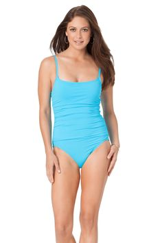 Magicsuit by miraclesuit solid grey nicole tankini underwire top this