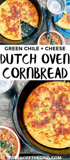 Dutch Oven Cornbread with Green Chiles This Dutch Oven Cornbread recipe is perfect for camping trips next to a bowl of chili! Vegetarian Dutch Oven Recipe, Dutch Oven Recipes, Side Dish Recipes, Vegetarian Recipes, Camping Dishes, Camping Meals, Camping Recipes, Camping Cooking, Backpacking Food