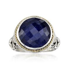 Here's a beautiful Balinese 15.00 carat sapphire ring showcasing the intense coloring of this round gem in a sensationally exotic setting. 14kt yellow gold and sterling silver ring. Free shipping & easy 30-day returns. Fabulous jewelry. Great prices. Since 1952.