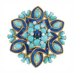 Gold, Turquoise, Cabochon Sapphire, Diamond and Blue Enamel Clip-Brooch, France  18 kt., centering a floret accented by one round cabochon sapphire approximately 7.0 mm., encircled by a cluster of round cabochon turquoises, accented by 7 round diamonds approximately .85 ct., framed by a looped ribbon applied with blue enamel edged by small gold balls, surrounded by marquise-shaped turquoises, with French assay mark, approximately 34.2 dwt.