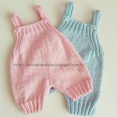 Hobilerim ve ben: Bebek Tulumları Crochet Baby Pants, Knitted Romper, Boy Crochet, Baby Outfits, Baby Knitting Patterns, Baby Patterns, Sewing Patterns, Baby Romper Pattern, Baby Overalls