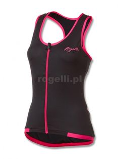 Sportowy podkoszulek Rogelli ABBEY damski, czarno-różowy