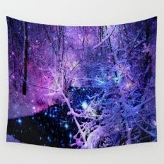 Cosmic River Galaxy Forest Wall Tapestry