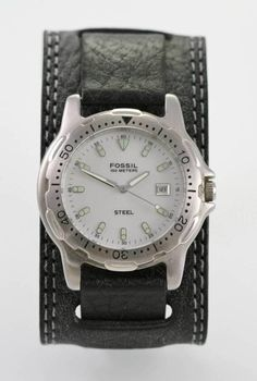 Fossil Watch Mens White Black Wide Leather Stainless Silver 100m Date Quartz 19eb5609d3e1