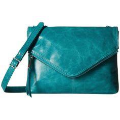 Hobo Adelle (Teal Green) Handbags ($168) ❤ liked on Polyvore featuring bags, handbags, shoulder bags, crossbody shoulder bags, envelope clutch bag, hand bags, hobo crossbody and shoulder strap handbags