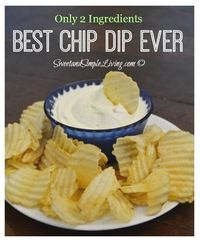 Cream Cheese Dip: The Best Chip Dip Ever!!! Only 2 ingredients. Bet you can't guess what the second one is . . . .from SweetandSimpleLiving.co