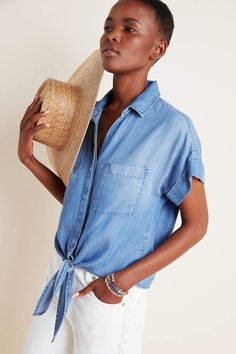 Cloth & Stone Tie-Front Chambray Blouse by in Blue Size: Xs, Women's Tops at Anthropologie Byron Lars, Comfortable Wedges, Chambray Top, Chambray Shirts, Easy To Love, Premier Designs, Spring Tops, Polished Look, Latest Fashion For Women