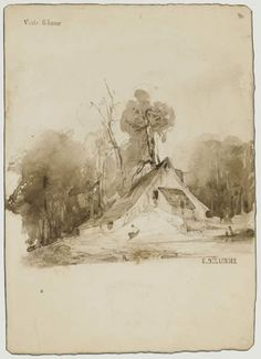 The Cottage in the grove - Eugene Delacroix,  chalk, ink on paper, 24.5 x 17.5 cm