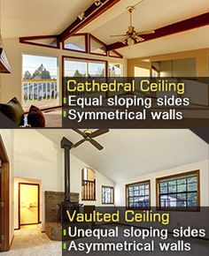 Difference between cathedral and vaulted ceilings
