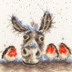 Wrendale Designs 'Merry Christmas' Donkey Greeting Card - Set of Three Christmas Donkey, Noel Christmas, Christmas Animals, Christmas Wishes, Vintage Christmas, Donkey Drawing, Cute Donkey, Watercolor Christmas Cards, Wrendale Designs