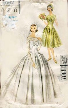1950s Wedding Gown Pattern Vogue Special by FloradoraPresents