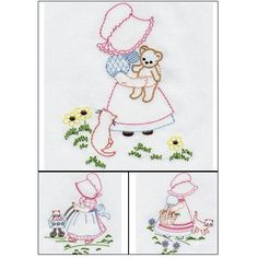 """""""Bonnie Bonnet"""" +FREE Sample! Don't sit for hours stitching by hand to get that handmade look, these designs will do it for you with your machine! Very versatile! Get yours ready to stitch out today! 7 designs!   #sunbonnets #sunbonnetembroiderydesign"""