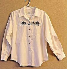 FOXCROFT 14 Long Sleeve White Shirt Horses Riders Dog #FOXCROFT #ButtonDownShirt #Casual