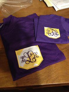 LSU colors faux pocket shirt