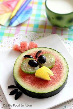 Little Food Junction: Angry Birds Sliced Watermelon (small size) topped with cucumber,  olives & Canary melon/yellow melon beak .
