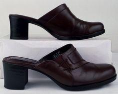 Clarks 8 medium womens Brown Leather high heel Mules USED #Clarks #Mules #WeartoWork