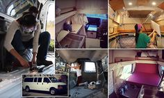 Woman creates 4 minute time lapse video of her building a camper van Build A Camper Van, Diy Camper, Chevy Van, Tiny House Living, Van Life, Mail Online, Celebrity Photos, Daily Mail, Caravan