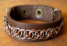 Leather Bracelet Chainmaille Unisex Helm Chain by marokel on Etsy, $17.00 #chainmaille