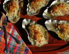 Baked Oysters recipe - Italian Style, shallots, prosciutto, wine, butter
