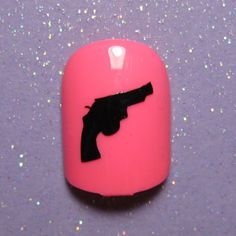 Revolver pistol gun nail art decals- nail vinyl- nail art stickers- vinyl nail sticker (choose 25 or 50 nail decals)