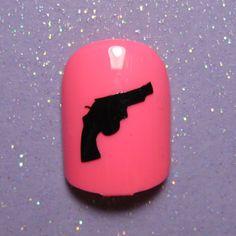 Revolver pistol gun nail art decals- nail vinyl- nail art stickers- vinyl nail sticker (choose 25 or 50 nail decals)