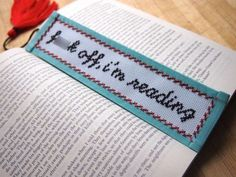 subversive cross stitch bookmark! such charming profanity.
