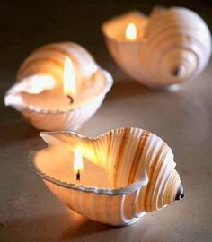 DIY shell candles are a very minimal however soothing source of light - pretty at a coastal themed wedding
